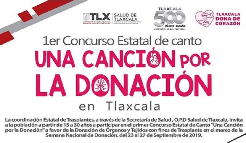 Convoca SESA a concurso de canto para fomentar donación deórganos