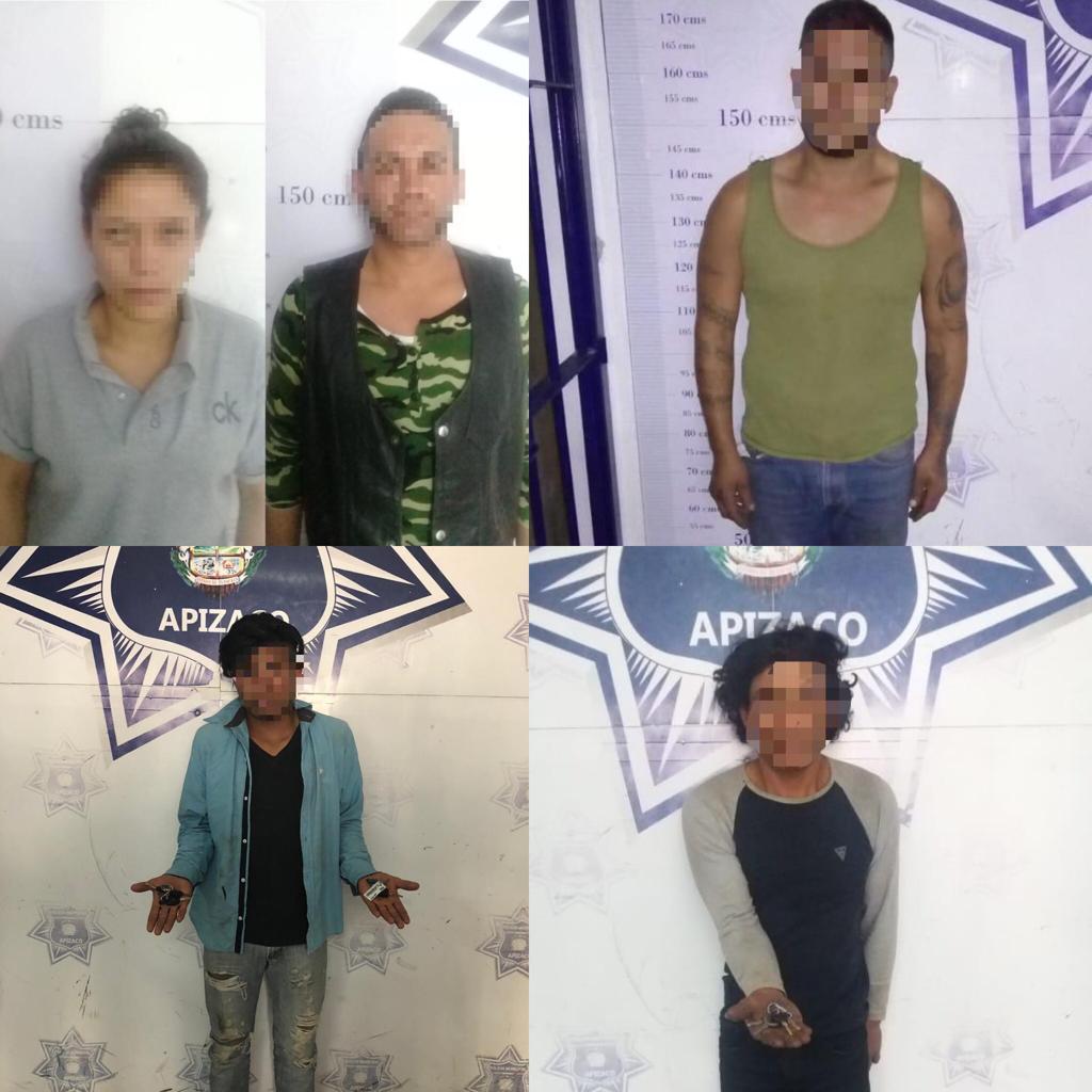 En horas, la Policía de Apizaco aseguró a 5 presuntosdelincuentes