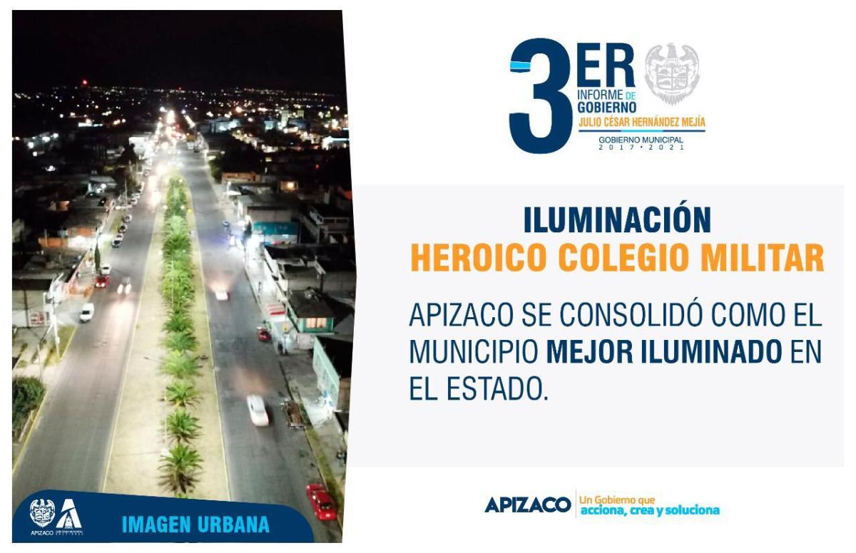 En 2019, Apizaco se consolidó como el municipio con el mejor alumbradopúblico
