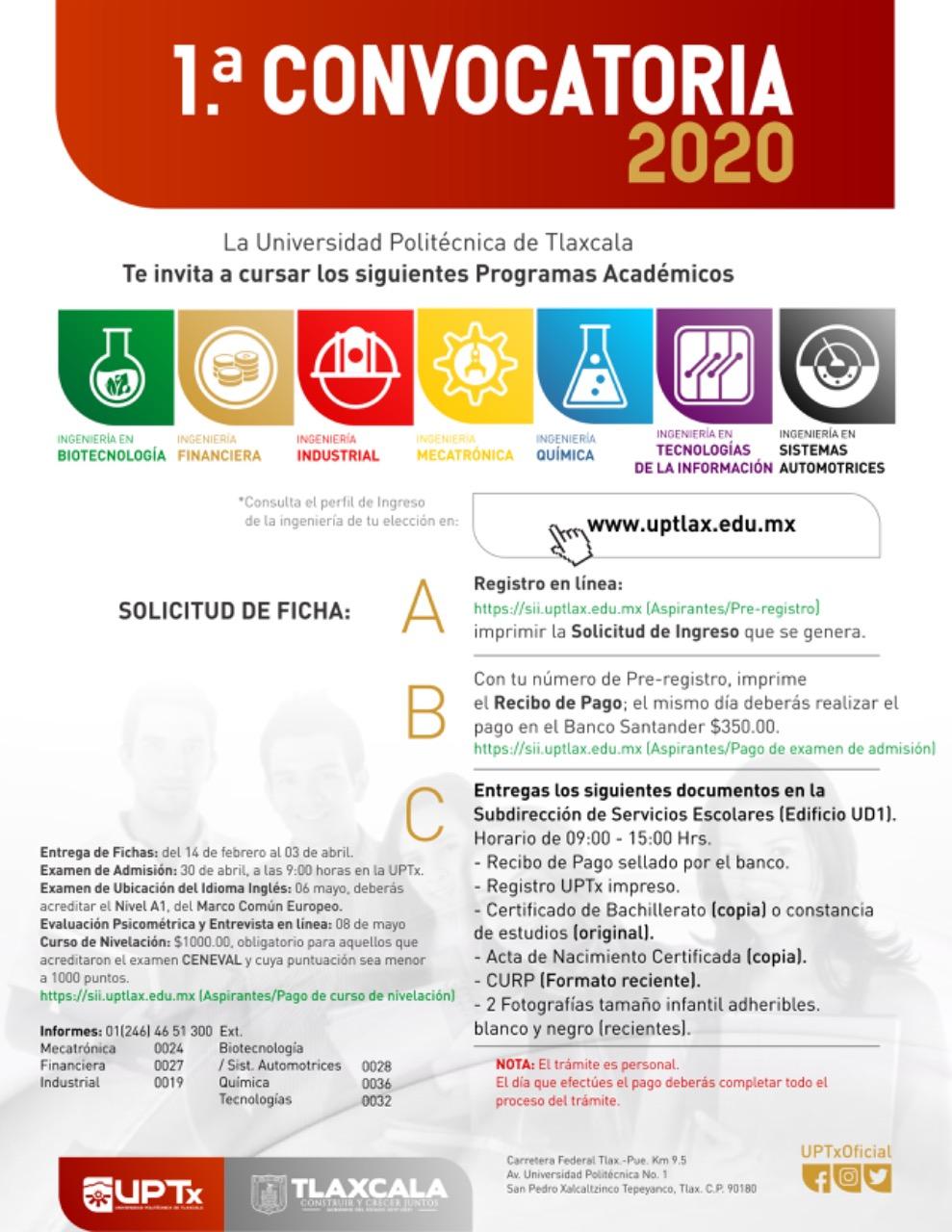 PRESENTA UPTX CONVOCATORIA DE INSCRIPCIÓN2020