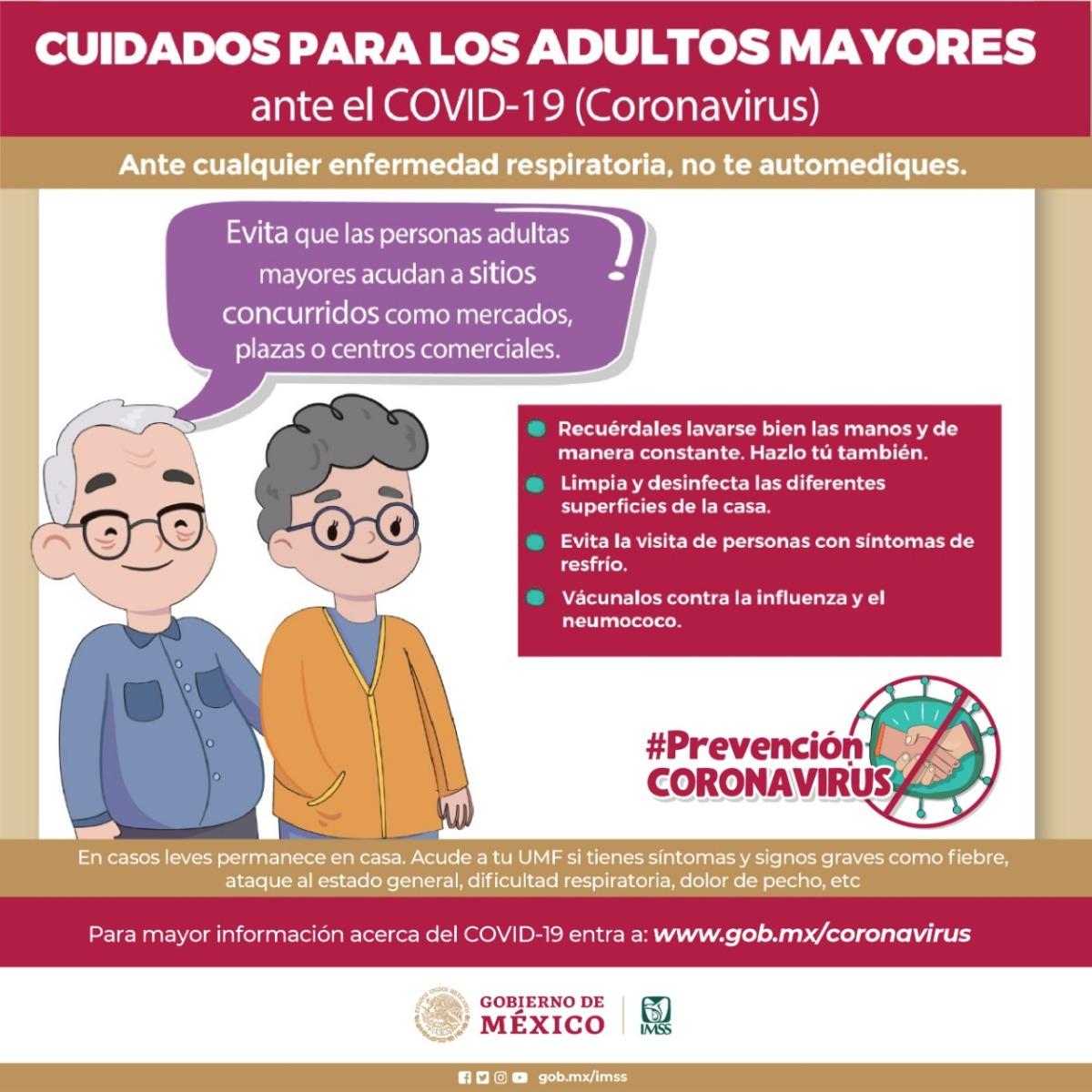 Pide IMSS extremar precauciones en el cuidado de adultos mayores, a fin de limitar el contagio deCOVID-19