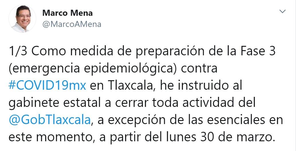 MARCO MENA ANUNCIA CIERRE DEL GOBIERNO EN PREPARACIÓN DE FASE 3 DECOVID-19
