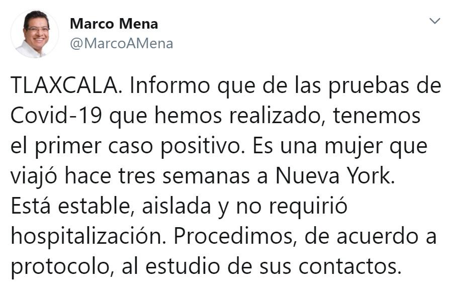 CONFIRMA SESA PRIMER CASO DE COVID-19 ENTLAXCALA