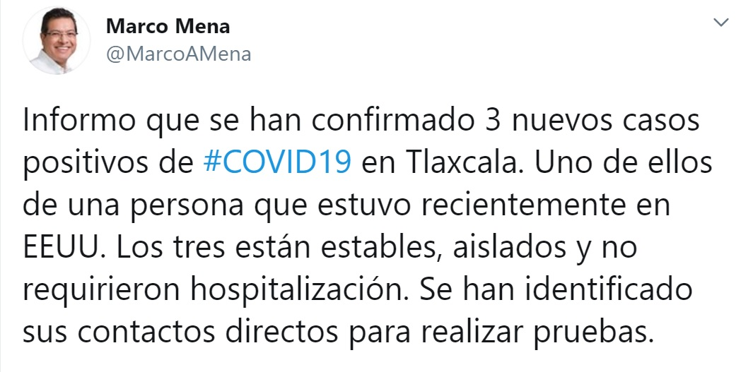 CONFIRMA SESA TRES NUEVOS CASOS DE COVID-19 ENTLAXCALA
