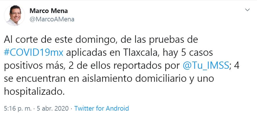 CONFIRMA SESA CINCO CASOS MÁS DE COVID-19 ENTLAXCALA