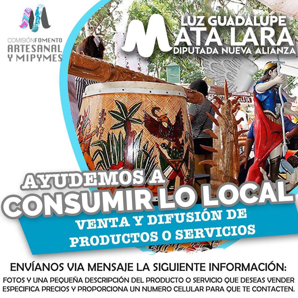 CONVOCA LUZ GUADALUPE MATA LARA AL CONSUMO DE PRODUCTOS ARTESANALES Y DE MIPYMES DETLAXCALA